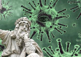 Virus and patient statue